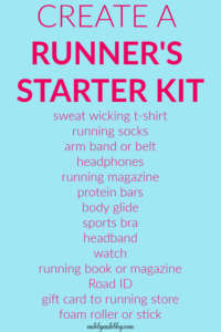 Do you know someone who is starting to run? The perfect gift for them is a runner's starter kit! Here are some ideas of what you can include. #running #giftideas #fitness #unninggear