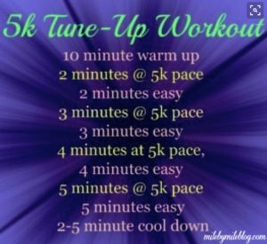 A 5k workout to get you ready for race day! Practice running those faster 5k paces, increasing your intervals throughout the workout. #5k #training #tuneup #race #workout