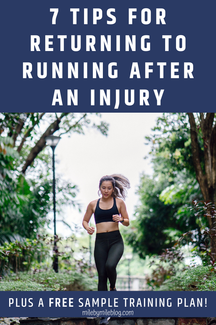Returning to running after an injury can be challenging. Avoid any setbacks with these 7 tips plus a sample training plan! #running #injuries #trainingplan