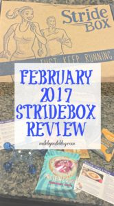 This month I received my first Stridebox, a monthly subscription service for running related products. Check out this post to see what I got and what I thought of Stridebox!