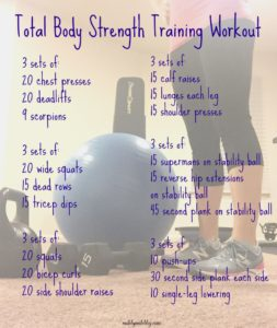 A total body strength training workout that hits upper body, lower, body, and core. This workout can be done anywhere as long as you have some weights! Stability ball is optional.