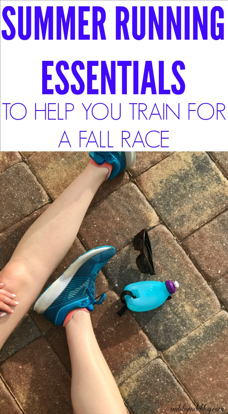 Training for fall races happens mostly in the summer weather, so you need to be prepared for some hot weather running! Here are some essential running items to help you train and prepare for your race. #running #runninggear #training