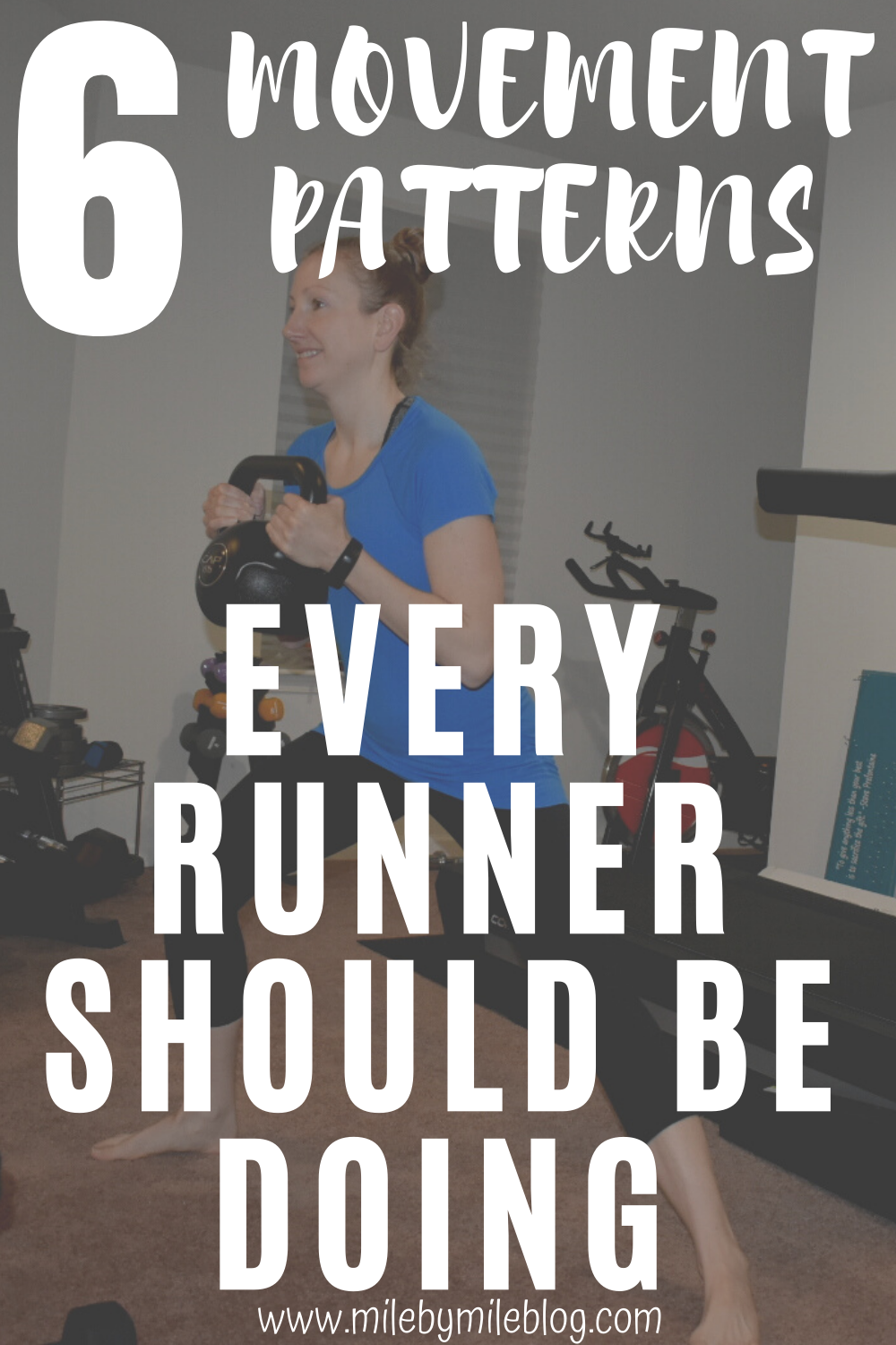 Strength training is important for runners, and there are basic movement patterns that should be a part of any strength training program. Try to focus on these 6 movement patterns that every runner should be doing when deciding on your strength training exercises. #runner #strengthtraining