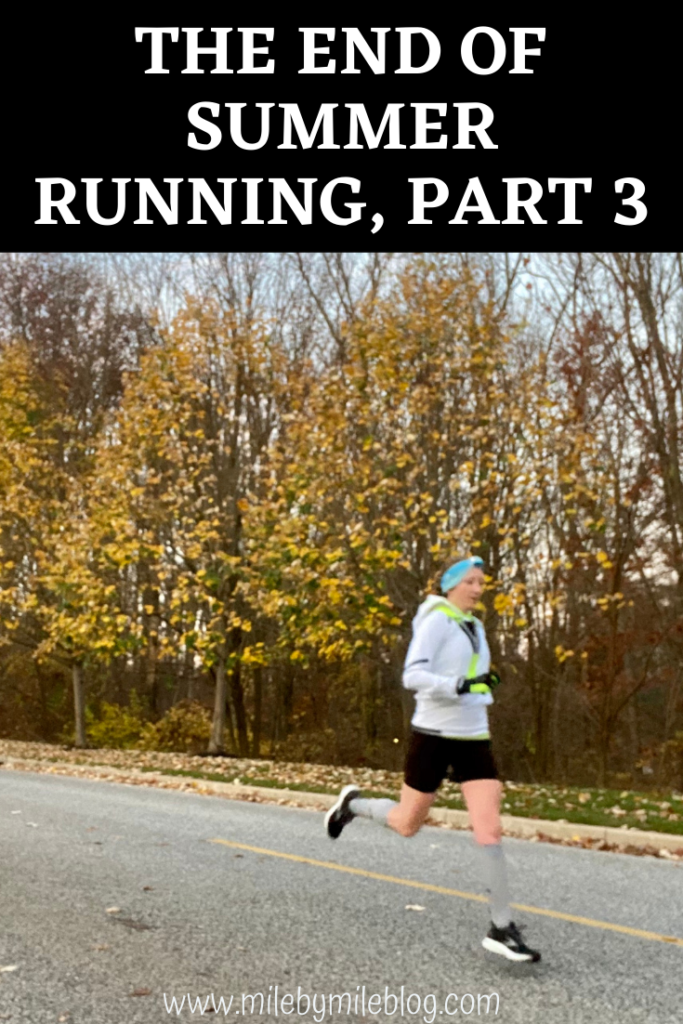 After another week of warm weather, it started to feel like fall once again. Overall it was a good week of running with a workout, a long run, and 2 strength training sessions. Now that it's cooled off again, it seems like it was the end of summer running, part 3.
