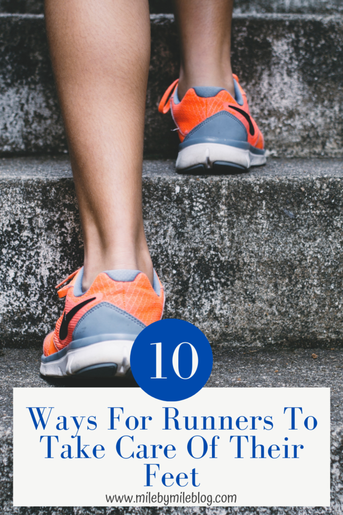 Runners put their feet through alot, and expect them to support them over many miles! It's important for runners to take care of their feet to keep them healthy and happy. Here are some ways for runners to take care of their feet.