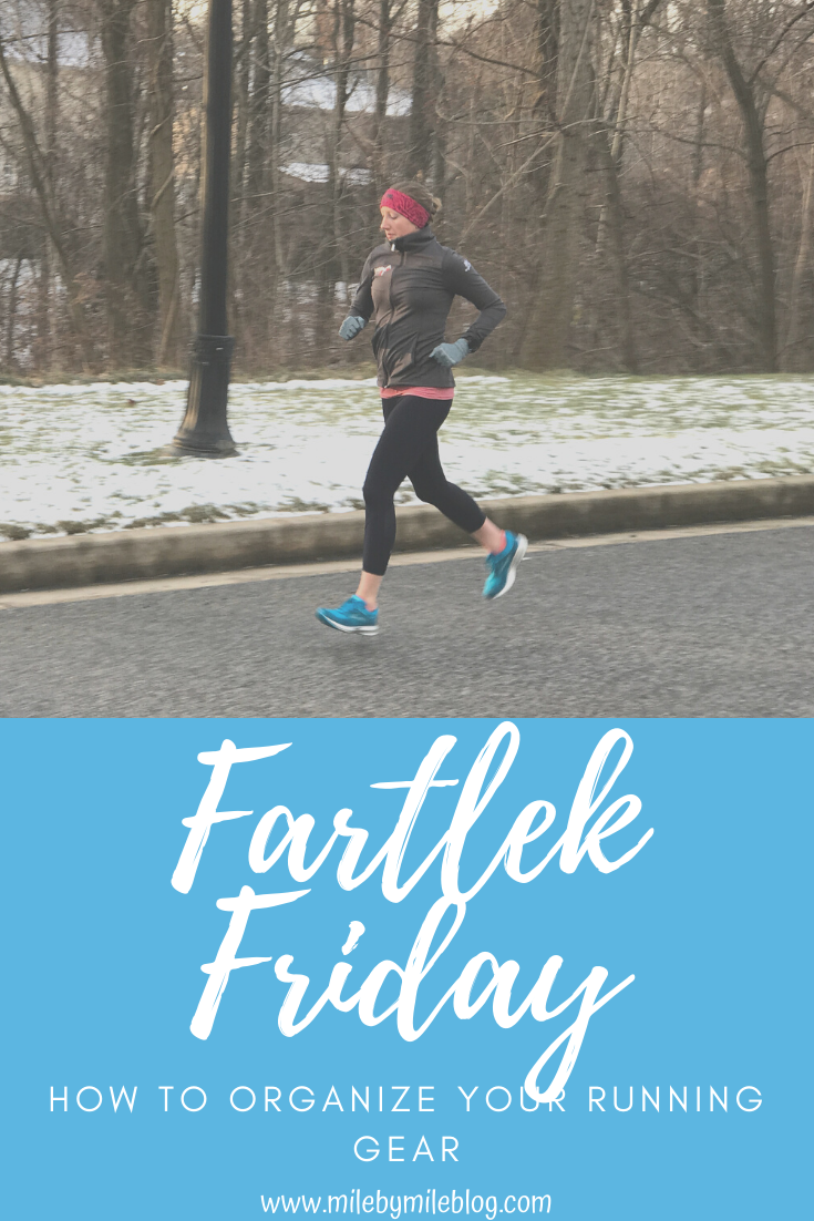 In today's Fartlek Friday post, I'm sharing a quick tip for how to organize your running gear! Check out this simple strategy to keep all your running gear accessible and organized.