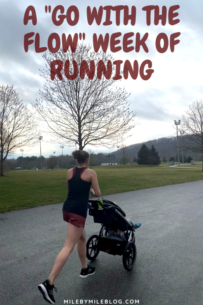 """I went into the week without a real plan, which is very unlike me. I was still WFH every day, and the only day I had childcare help with Wednesday when Rob took off. So my plan was to do stroller runs and take a rest day when the weather was bad. It really became a """"go with the flow"""" week of running."""