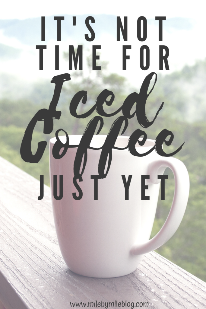 Just when the weather seems to be on the upswing, a few more cold days need to sneak themselves in there. I prefer hot coffee most days, but when it warms up I do get a craving for iced coffee. But it's not time for iced coffee just yet. Its' still just the beginning on April, after all.