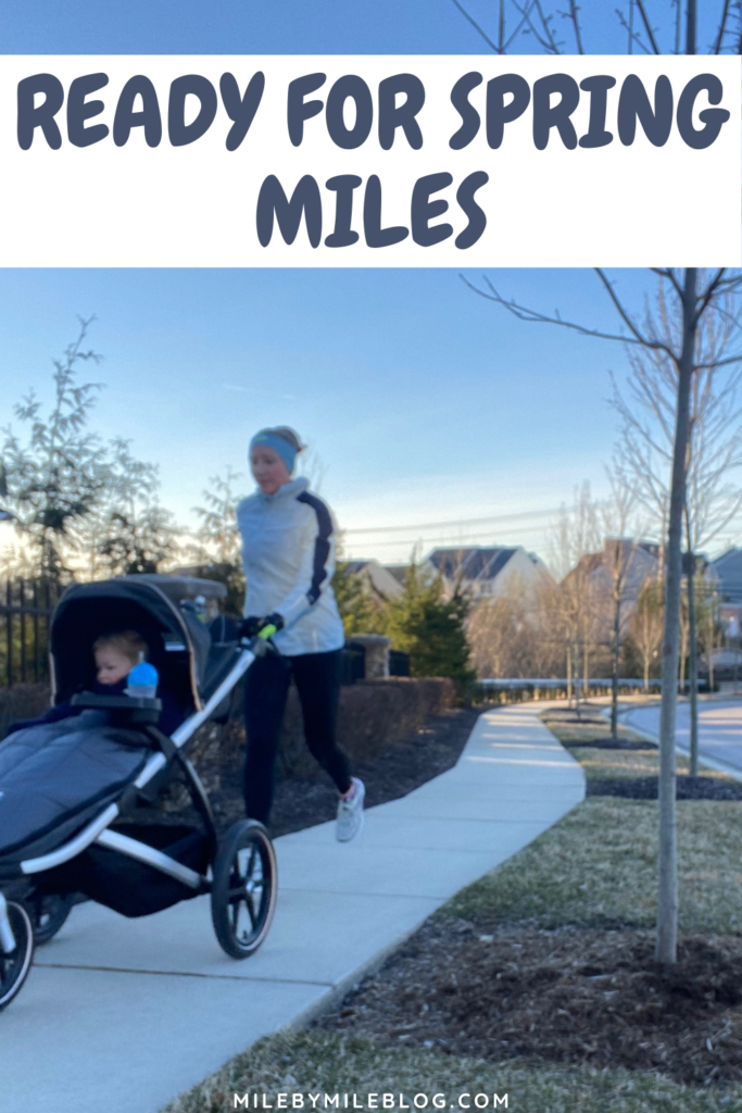Most of this week was cold and windy, with some rain mixed in. The weekend was nice, but the mornings were still chilly. I don't know about you, but I'm ready for some spring miles!